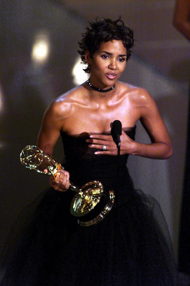 "Actress Halle Berry holds her trophy for ""Lead Actress in a Miniseries or Movie"" category for her role in ""Introducing Dorothy Dandridge"" during the 52nd Annual Primetime Emmy Awards"