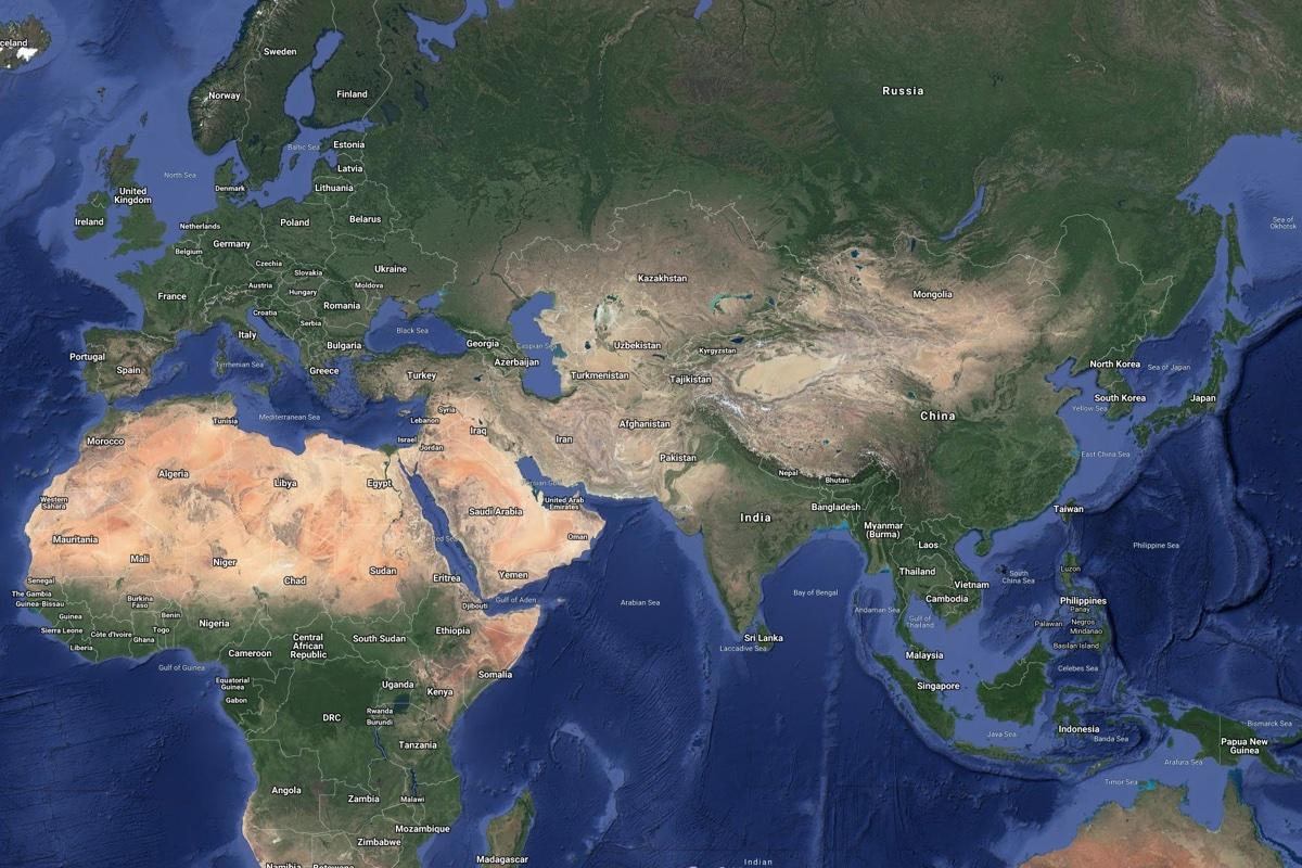 Satellite image of Kazakhstan