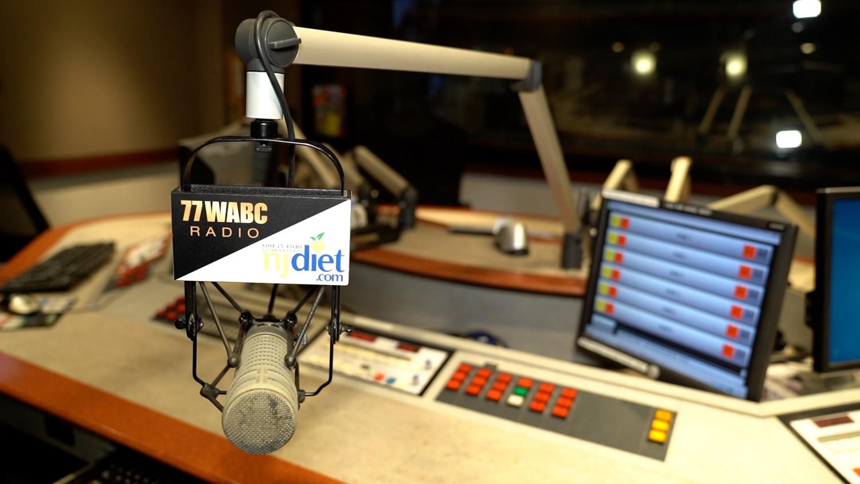Microphone and studio at 77WABC Radio