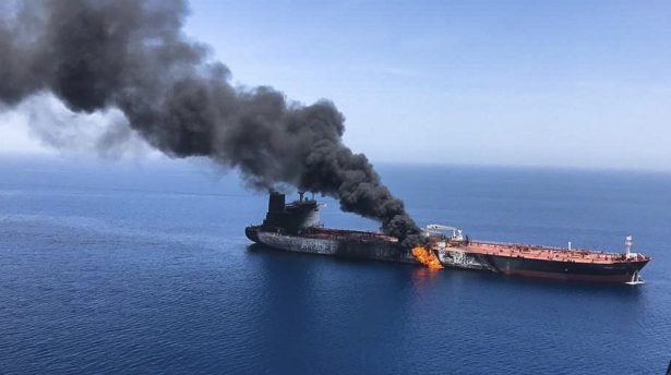 Oil tanker ablaze