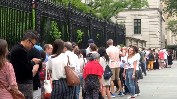 People line up for the First Fridays event at The Frick Collection in New York City