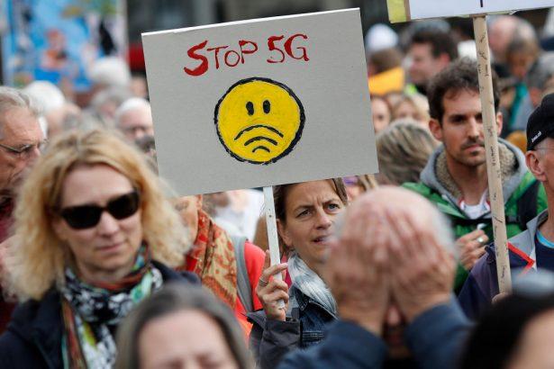 Protestors against 5G in Switzerland