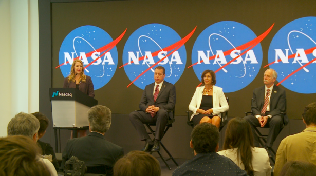 NASA unveils plan to open the International Space Station to commercial businesses at the Nasdaq Stock Exchange in New York. (Shelbi Malonson/NTD)