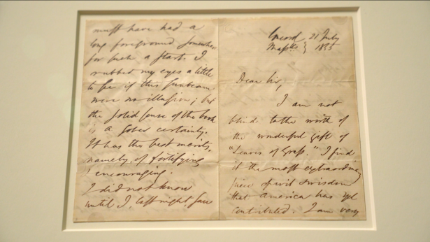 A letter from Ralph Emerson, then a famous author, to Walt Whitman in 1855, displayed at the Morgan Library and Museum. (Shenghua Song/NTD)