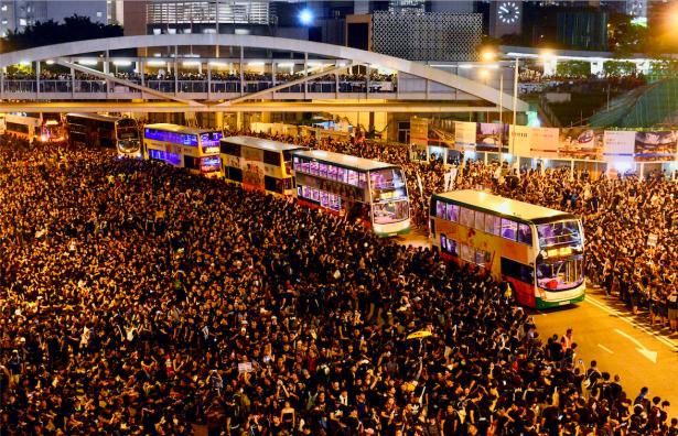 Hong Kong protester part way for buses