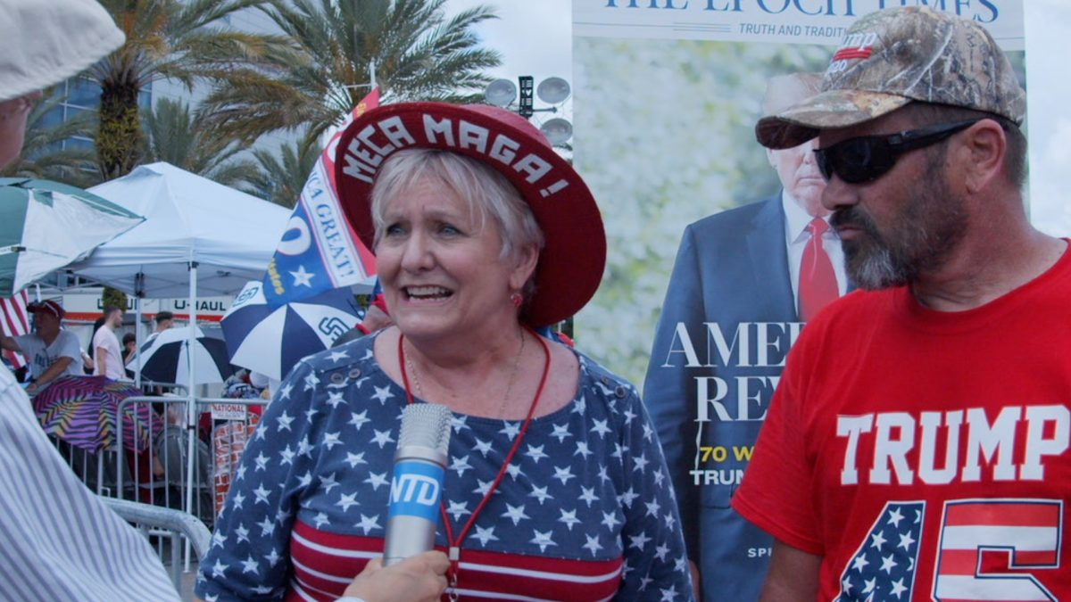 Georgia Williams (left), a retired flight attendant and Jeff Thompson, an artist, both from Orlando, told NTD that they are happy to see Trump keep his fight against socialism.