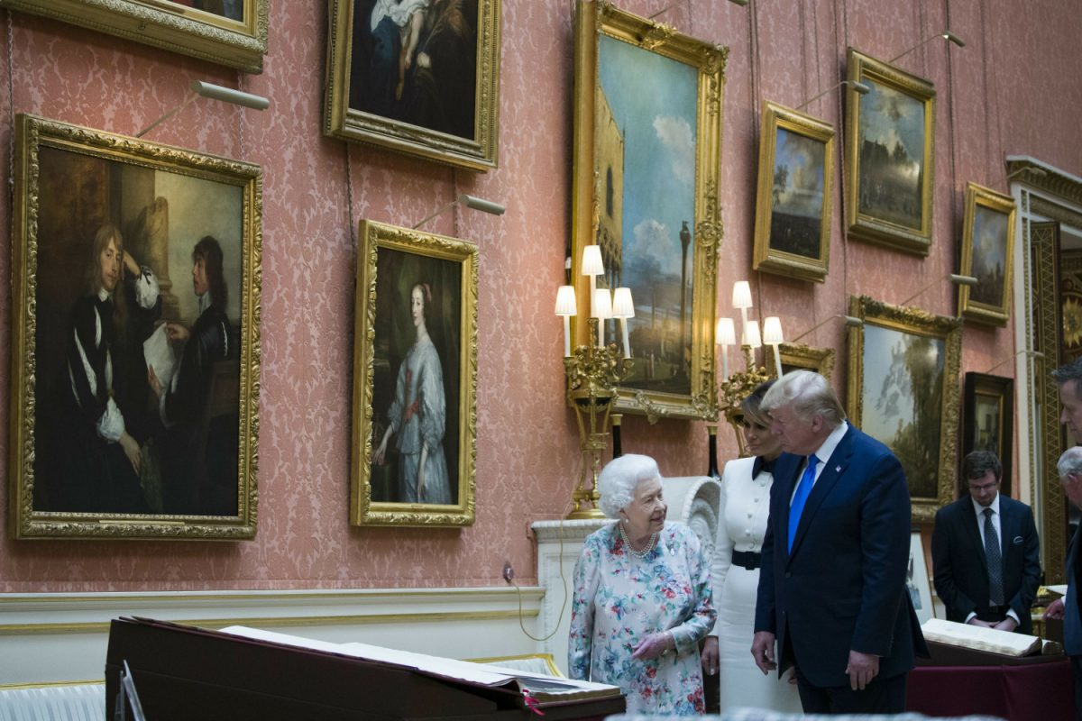 Donald Trump, Queen Elizabeth II, and Melania Trump