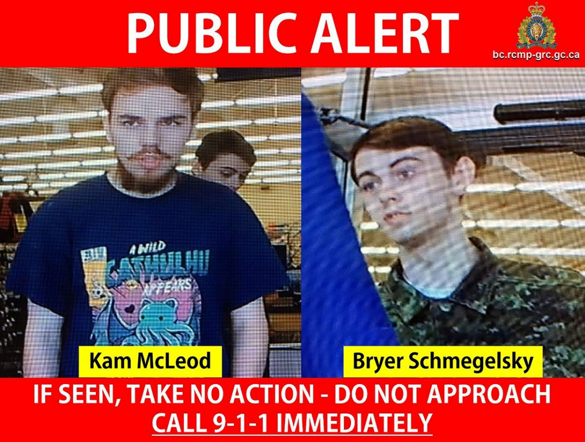 Kam McLeod and Bryer Schmegelsky are seen in undated CCTV footage on a public alert issued by the RCMP