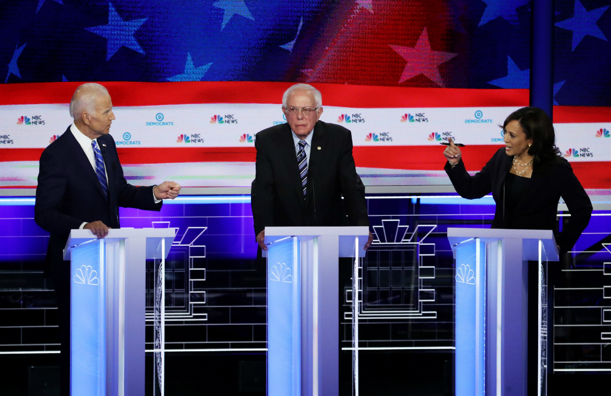Joe Biden, Bernie Sanders, Kamala Harris at 2020 Democratic presidential debate