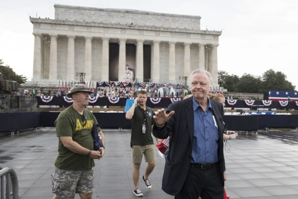"Actor Jon Voight greets crowds during the opening festivities of President Donald Trump's ""Salute to America"" ceremony in front of the Lincoln Memorial"