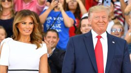 Melania Trump Stuns in Off-the-Shoulder White Striped Dress at 'Salute to America' Celebration