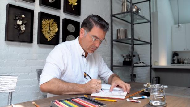 Michael Aram drawing in his New York studio
