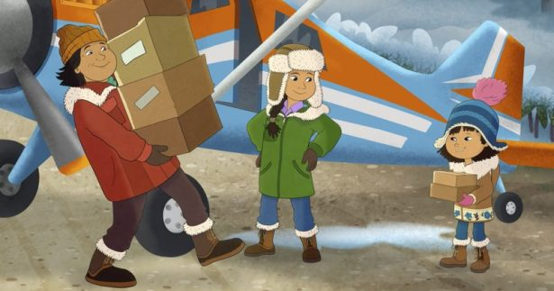 This image released by PBS shows characters, from right, Molly, voiced by Sovereign Bill, her mother, voiced by Jules Koostachin, and father, voiced by Ron Harris,
