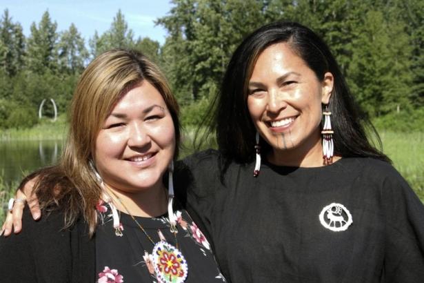 "Rochelle Adams, left, an Alaska Native cultural advisor, and Princess Johnson, the creative producer for the series ""Molly of Denali"""