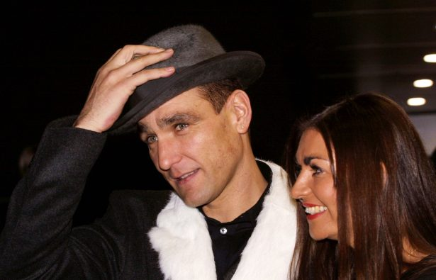 Actor and former soccer player Vinnie Jones arrives with his wife Tanya for the World Premiere of the film ''Mean Machine''
