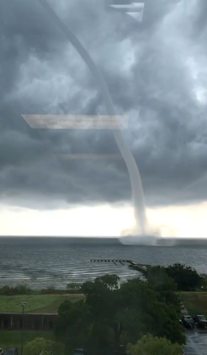 A waterspout is seen on Lake Pontchartrain off New Orleans