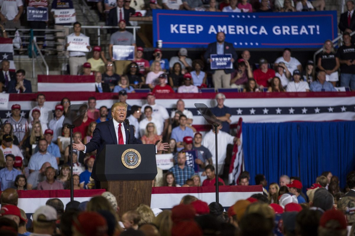 President Donald Trump at Greenville rally