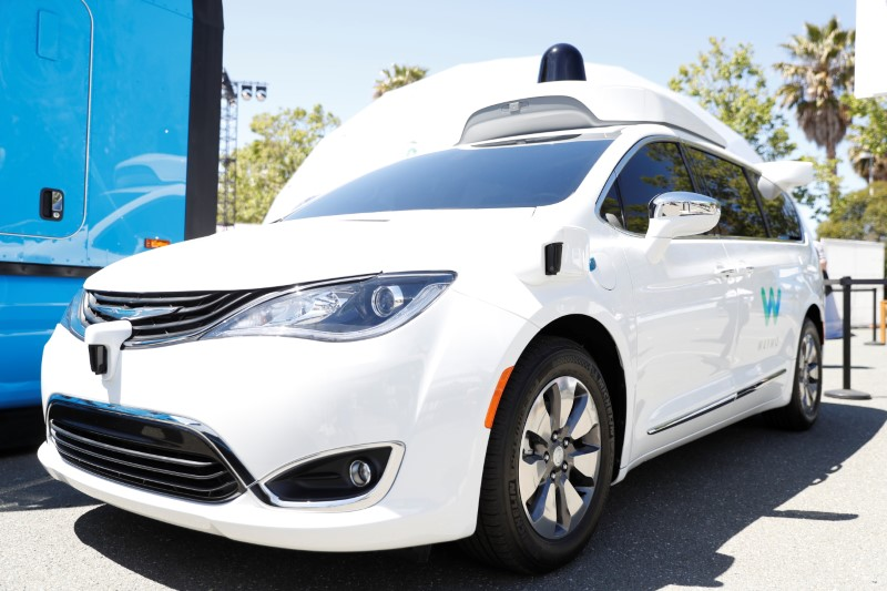 A Waymo self-driving car is seen during the annual Google I/O developers conference in Mountain View, California