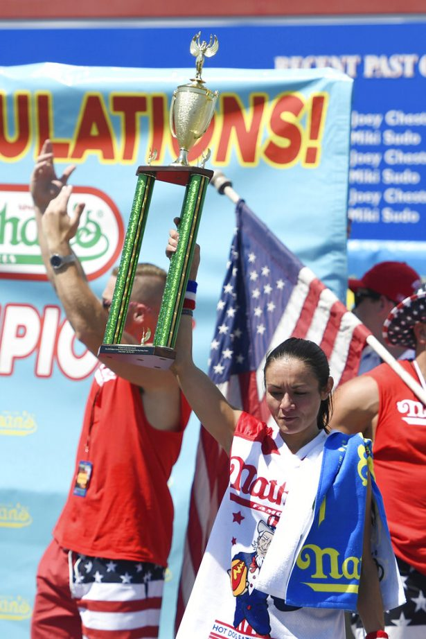 Michelle Lesko reacts after receiving her second-place trophy