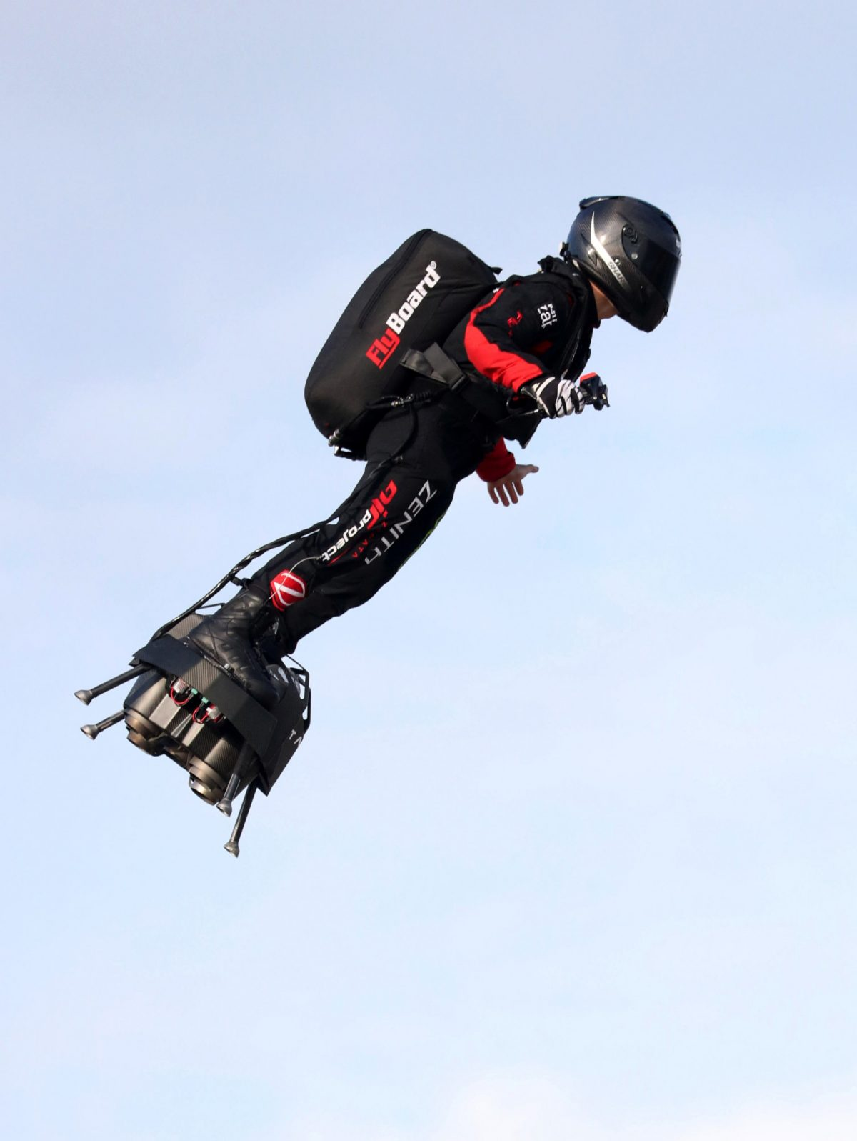 French inventor Franky Zapata takes off on a Flyboard