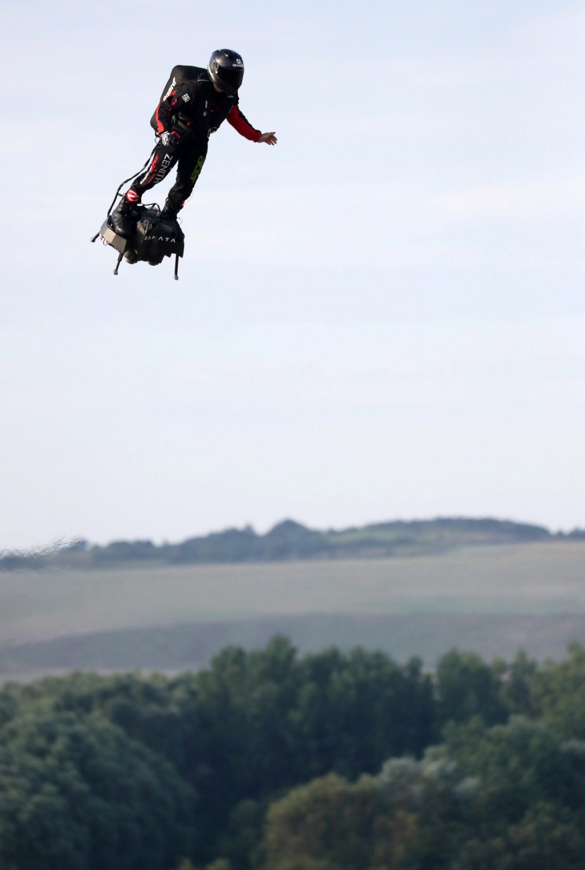 French inventor Franky Zapata takes off on a Flyboard for a second attempt to cross the English channel