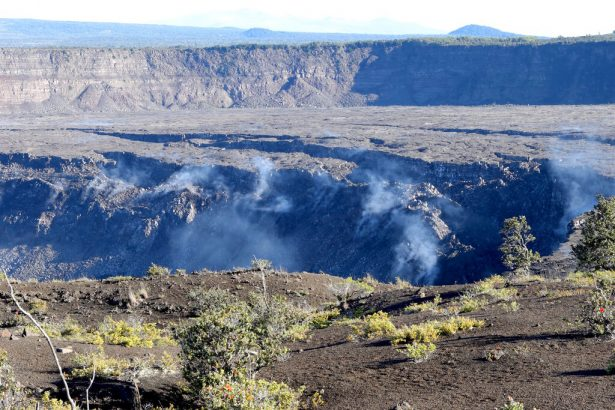 Gas rises from the collapsed caldera floor of Kilauea volcano