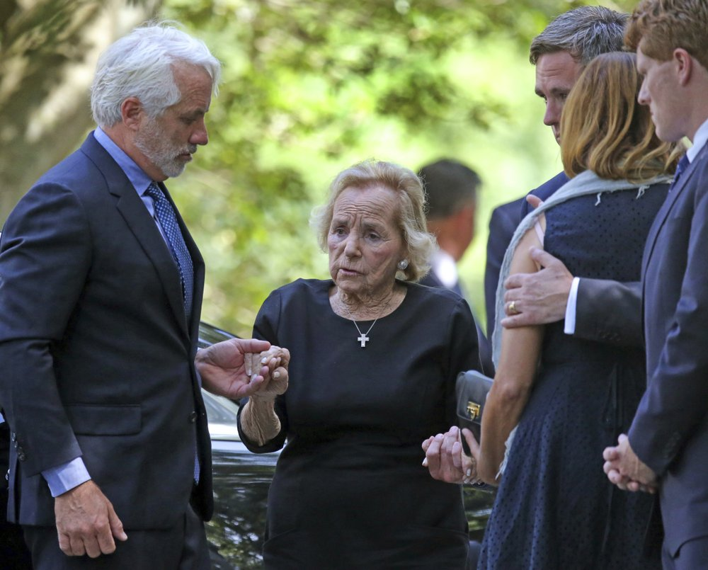 Ethel Kennedy is helped to the church