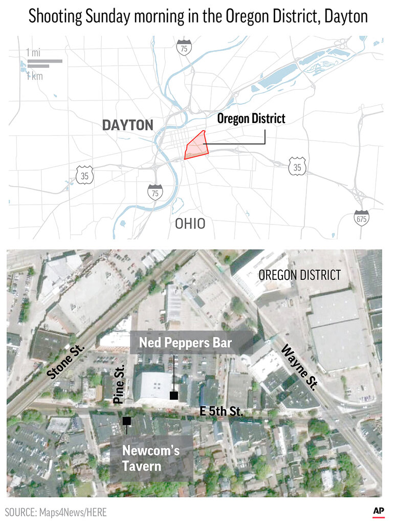 Graphic shows the mapping of the Dayton Shooting in Ohio