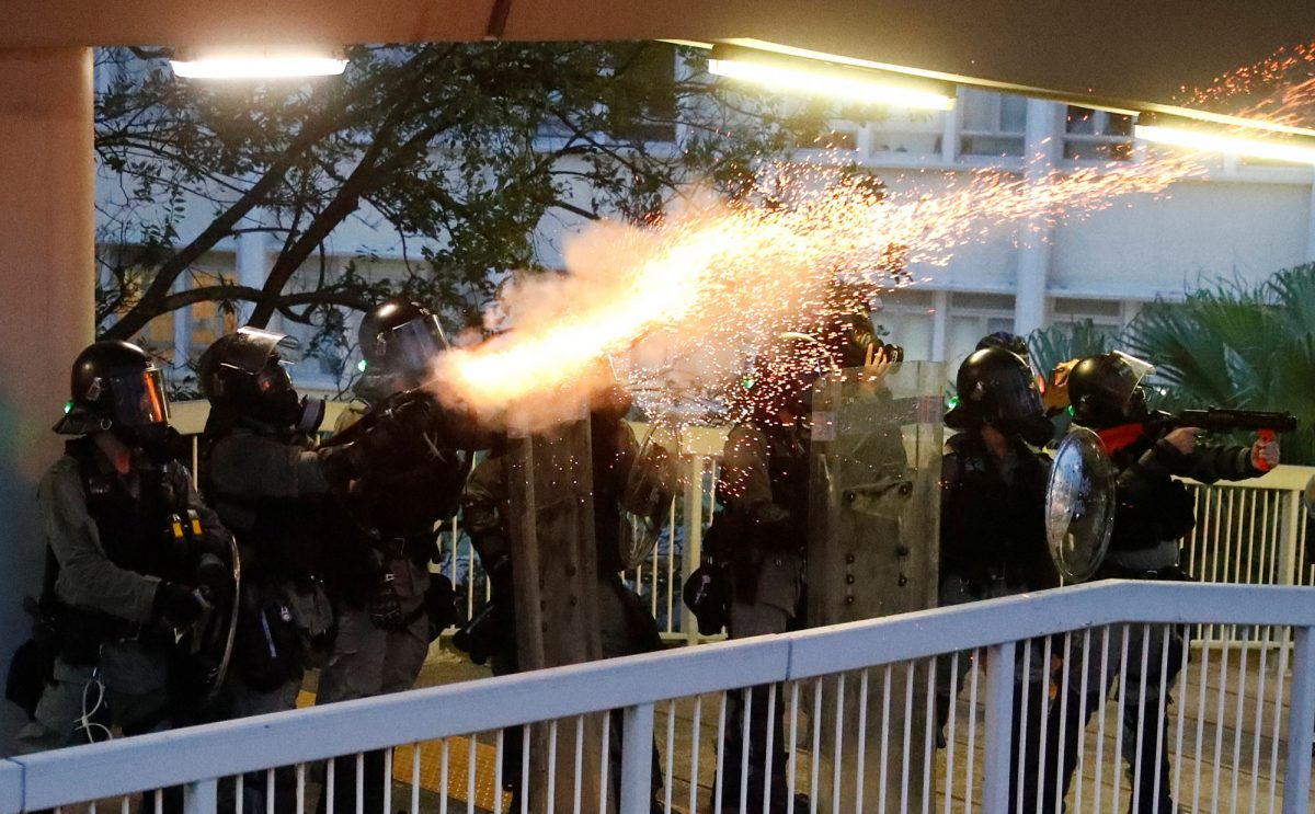 Hong Kong police fire