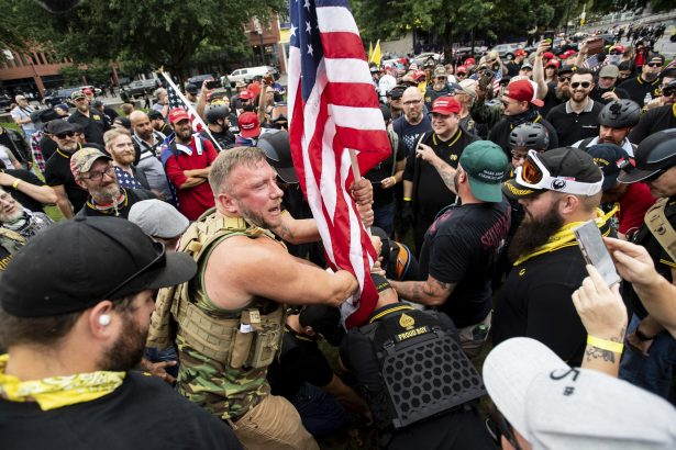 Ex MMA Fighter Defends Herself, Taking Down Anti-Trump Protester at Proud Boys Rally