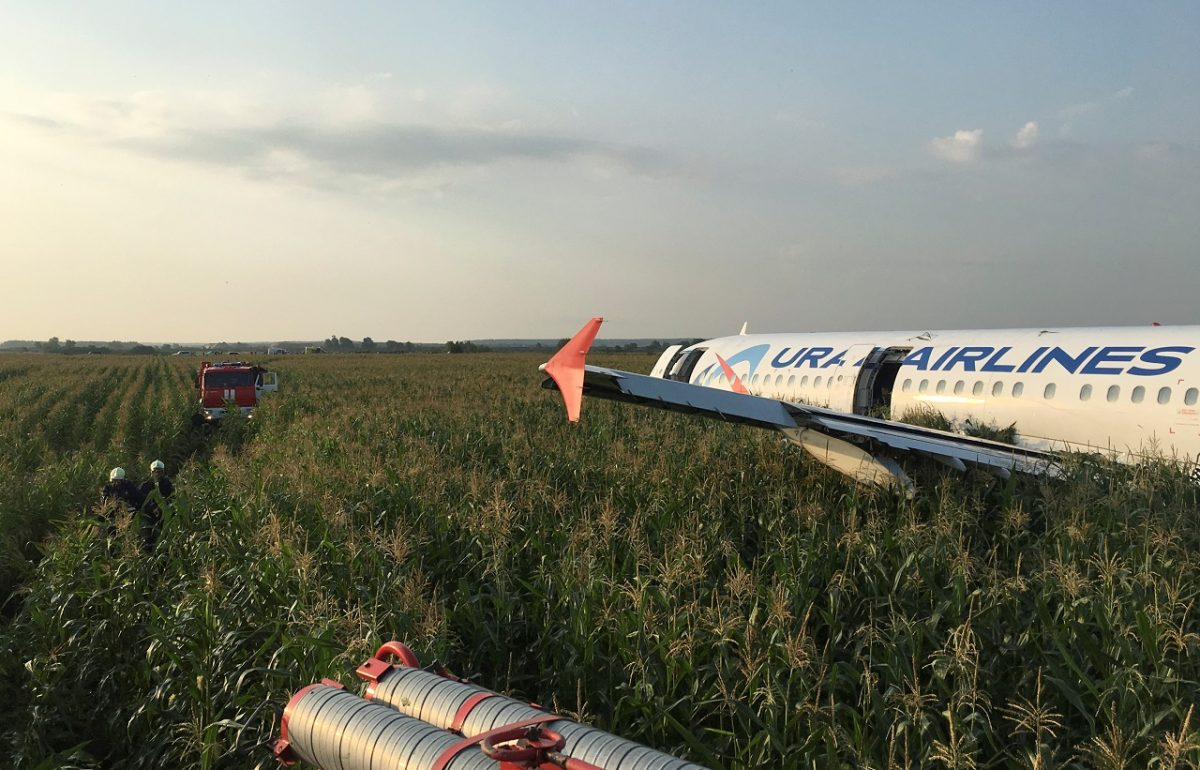 A view shows the Ural Airlines Airbus 321 passenger plane following an emergency landing