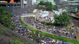 Thousands of Hong Kong Protesters March in Pouring Rain to Have Voices Heard