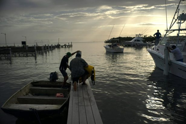 People arrive to a private harbor to move boats