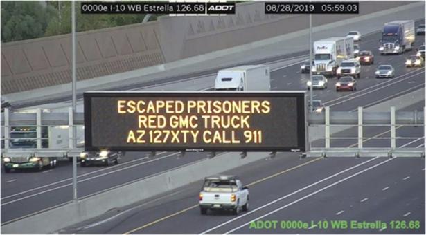 A digital sign over Interstate 10 in the Phoenix metropolitan area