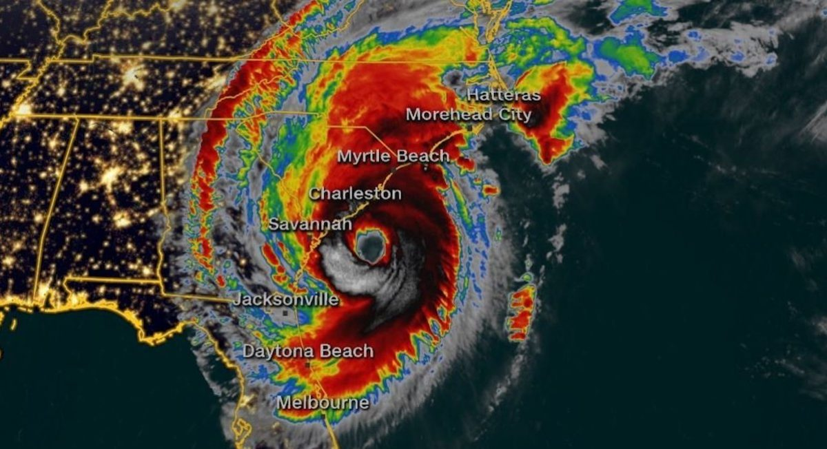 A current satellite image of Hurricane Dorian