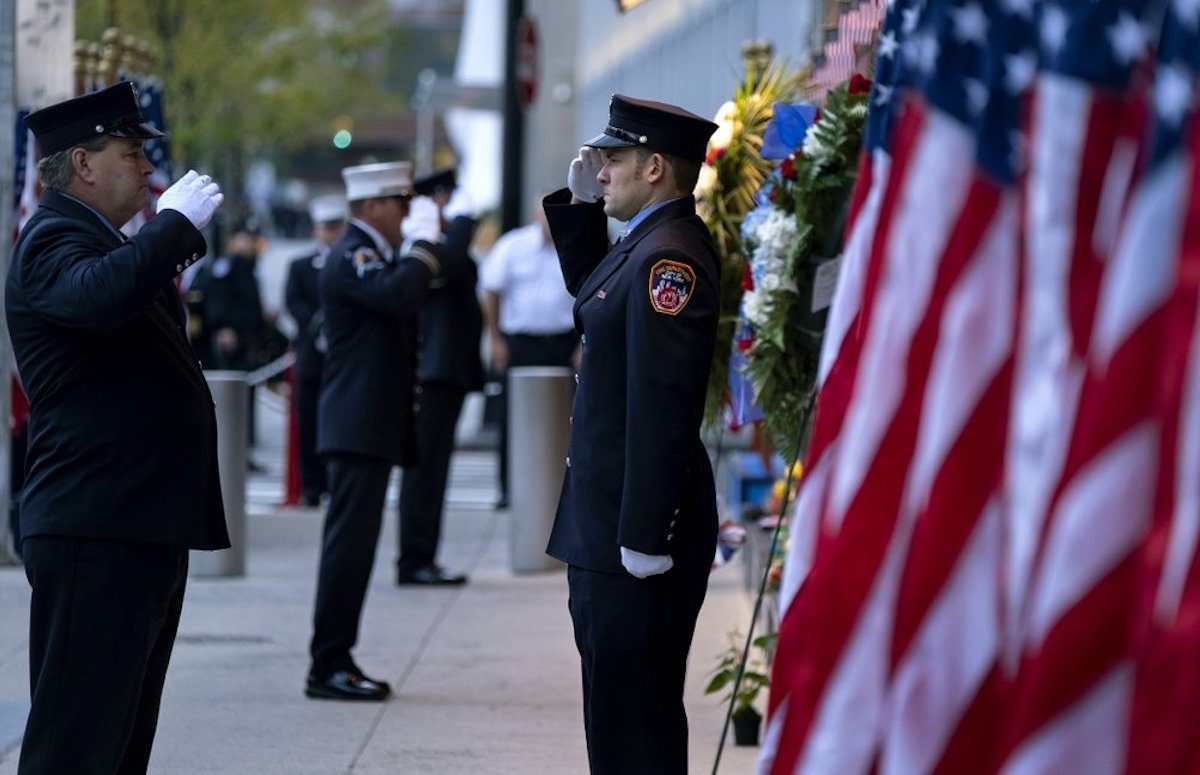 New York City firefighters salute