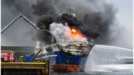 Nearly 100 Evacuated as Blaze Rages on Russian Trawler at Northern Norwegian Port