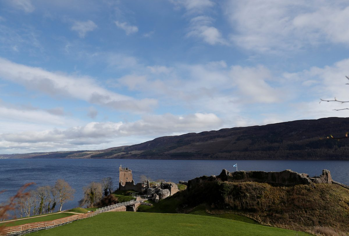 Urquhart Castle stands on the banks of Loch Ness near Inverness, Scotland