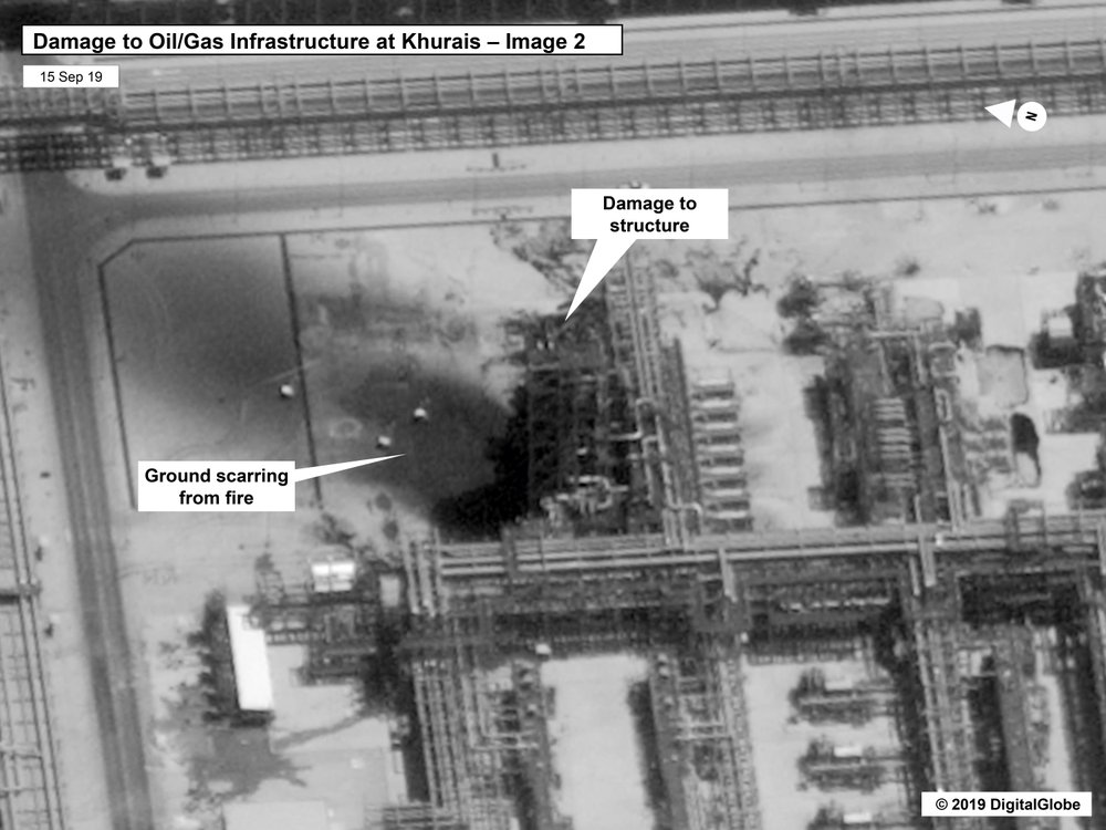 Damage to the infrastructure at Saudi Aramco's Kuirais oil field