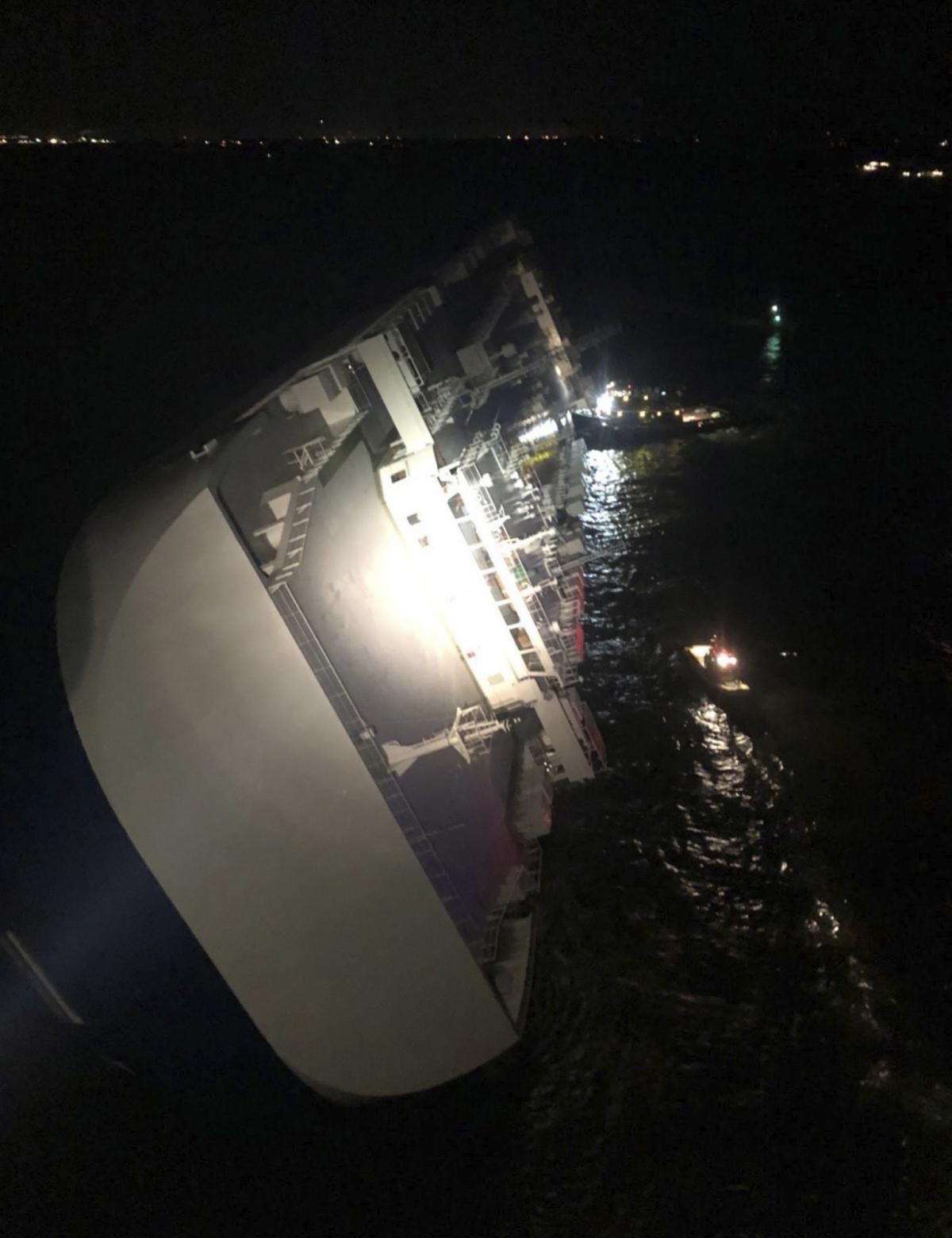 Ship overturns near Georgia port