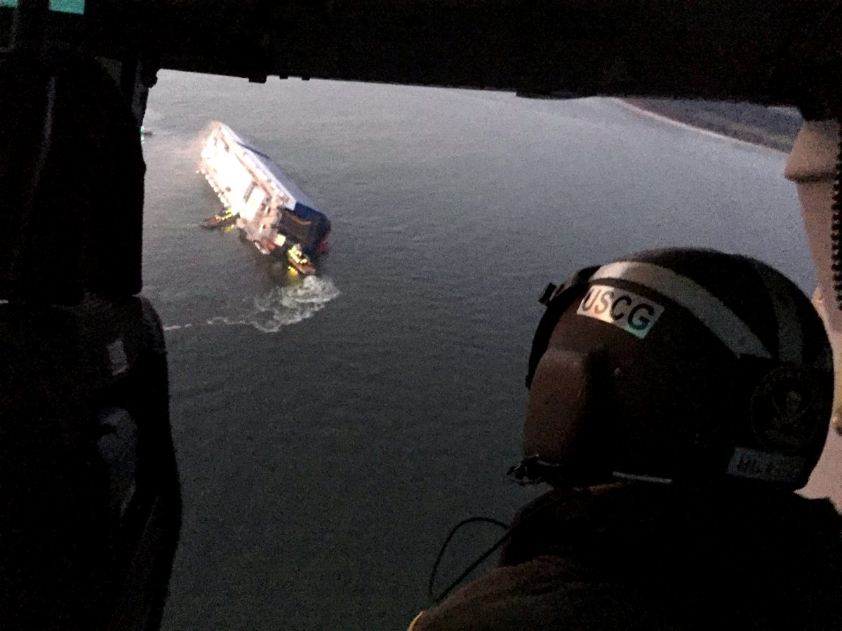 All crew members rescued from inside capsized cargo ship: Coast Guard