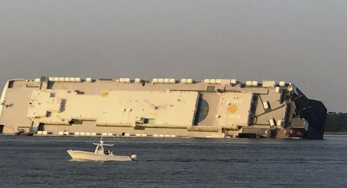 The Golden Ray cargo ship is capsized near a port on the Georgia coast