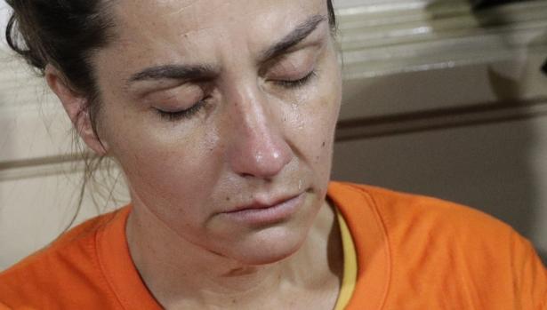 A tear rolls on the cheek of American national Jennifer Erin Talbot