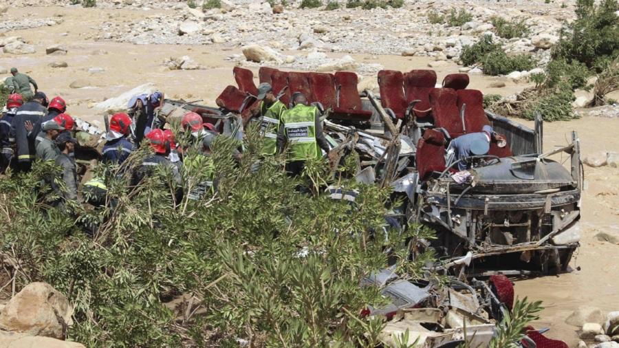 Report: 14 Dead Aboard Overturned Bus in Morocco Floods