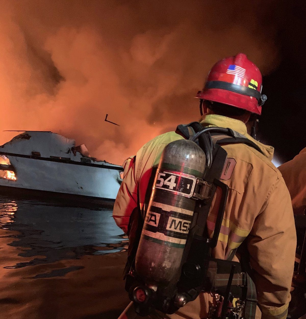 Ventura County Fire Department firefighters respond to a boat fire