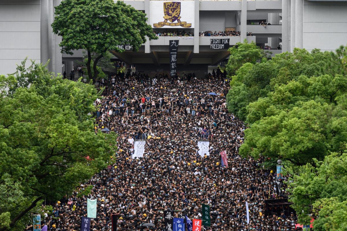 Students attend a school boycott rally