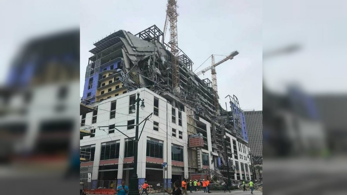 A partial collapse of a building under construction in New Orleans