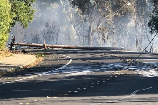 Power line fallen on the road