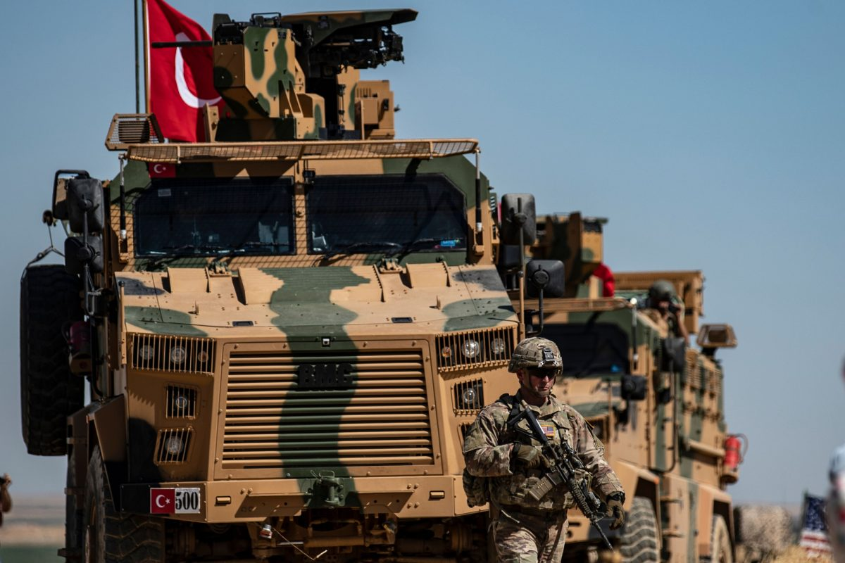 Turkish troops in the Syrian village