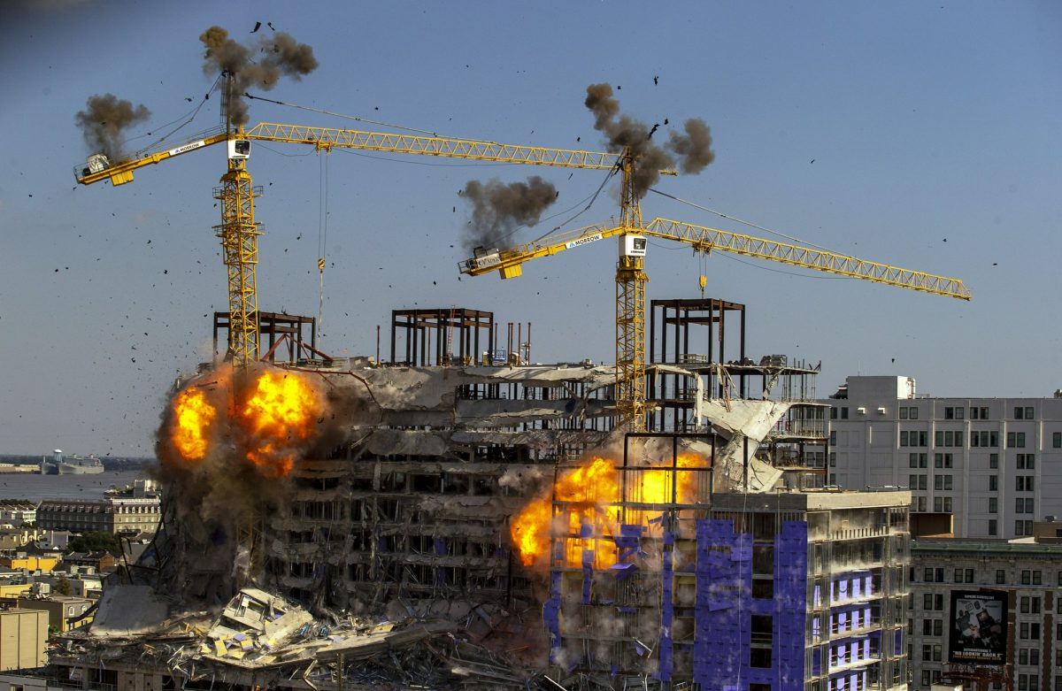 Two large cranes collapse